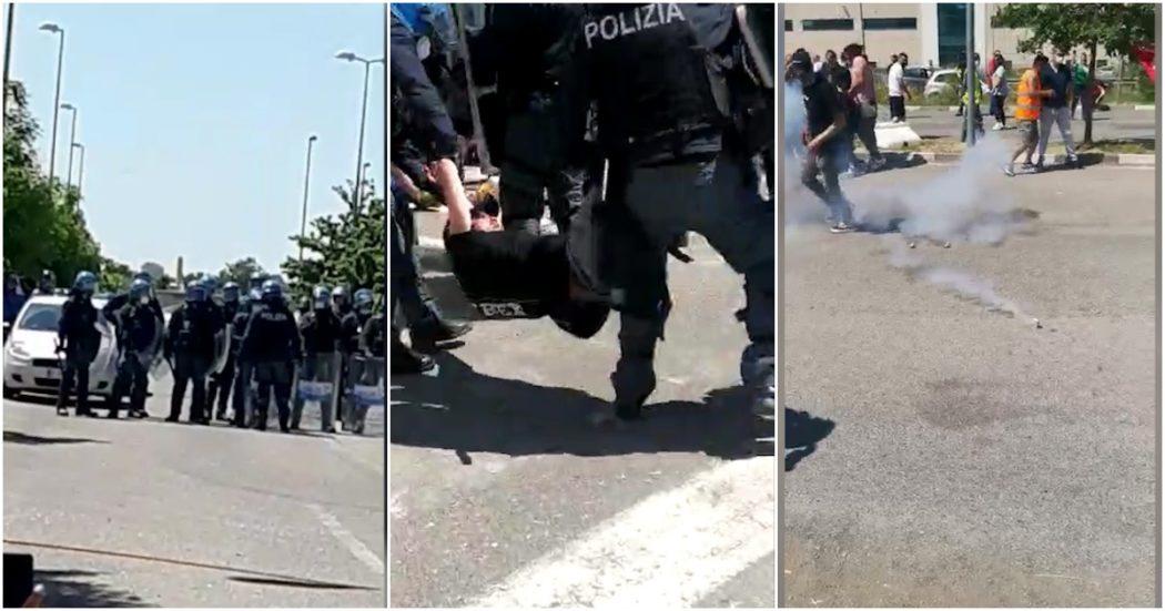 sit-in-dei-lavoratori-alla-ceva-di-stradella,-la-polizia-in-tenuta-antisommossa-sgombera-il-presidio-con-i-lacrimogeni-–-video